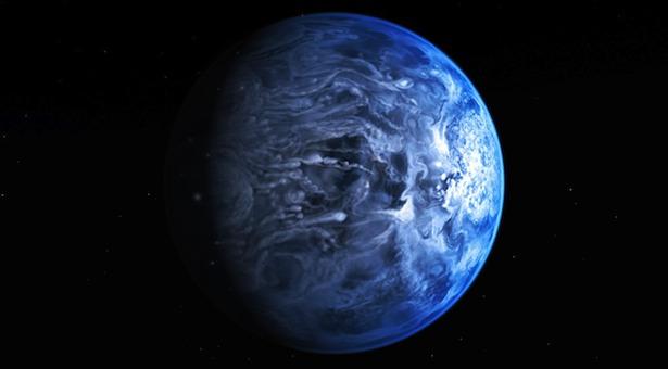 Ilustrasi sebuah planet yang mengorbit bintang lain. Seperti Bumi, dari luar angkasa planet ini juga terlihat berwarna biru. Kredit: NASA/ ESA/ M. Kornmesser.