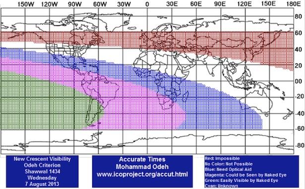 Gambar 4. Prediksi Visibilitas Hilal Penentu awal Syawal 1434 H di seluruh dunia pada 7 Agustus 2013.