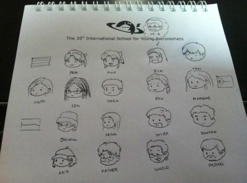 Kartun oleh salah seorang siswa yang menggambarkan persahabatan antar berbagai bangsa peserta ISYA 2013. Sumber foto: Andromeda Sun.