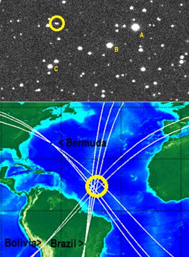 Gambar 2. Atas: citra asteroid 2014 AA (dalam lingkaran kuning) yang diabadikan Observatorium Gunung Lemmon (AS) pada 1 Januari 2014. A, B dan C adalah bintang-bintang dalam rasi Waluku (Orion). Bawah: titik lokasi airburst asteroid 2014 AA berdasarkan deteksi gelombang infrasonik dari mikrobarometer di stasiun IMS Kep. Bermuda, Bolivia dan Brazil. Sumber: NASA, 2014; Brown, 2014.