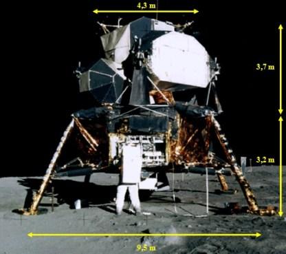 Gambar 1. Modul Bulan Apollo 11 beberapa jam pasca mendarat di Mare Transquilitatis. Astronot Edwin Aldrin nampak membuka ruang bagasinya untuk mengeluarkan instrumen seismometer dan cermin retroreflektor yang tersimpan didalamnya. Modul Bulan ini terdiri dari dua bagian yakni bagian atas dan bawah. Saat para astronot hendak mengangkasa kembali dan bergabung dengan modul Komando guna pulang ke Bumi, bagian atas diluncurkan dan terpisah dari bagian bawah. Sumber: NASA, 1969.