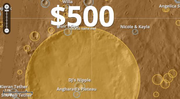 Kawah di Mars yang dijadikan obyek penamaan untuk memperoleh sumbangan masyarakat. Kredit: uwingu