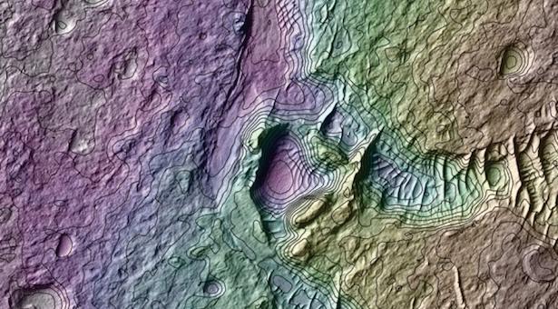 Kawah di Mars. Kredit: Antoine Lucas/NASA/JPL/Univ. Arizona