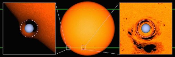 Ilustrasi bintang katai putih saat menguatkan cahaya bintang G yang merupakan bintang pasangannya. Kredit: Ethan Kruse and Eric Agol