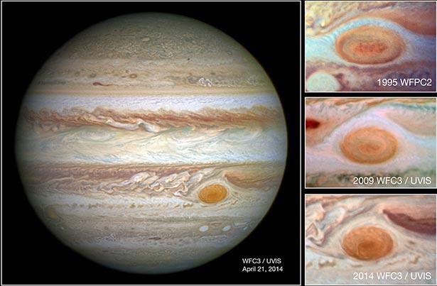 Penyusutan bintik merah raksasa yang diamati pada tahun 1995, 2009 dan 2014. Kredit: NASA, ESA, & A. Simon (Goddard Space Flight Center)