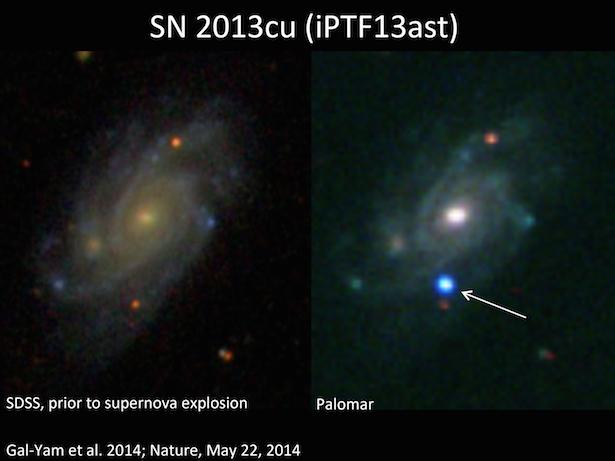 SN 2013cu, ledakan bintang Wolf Rayet. Kredit: Avishay Gal-Yam et al.