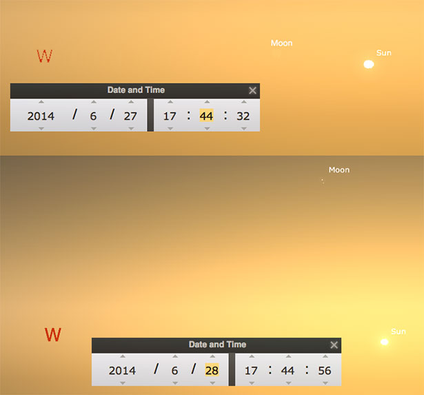 Posisi Bulan saat Matahari terbenam tgl 26 Juni 2014 (atas) dan 27 Junii 2014 (bawah). Kredit: Stellarium