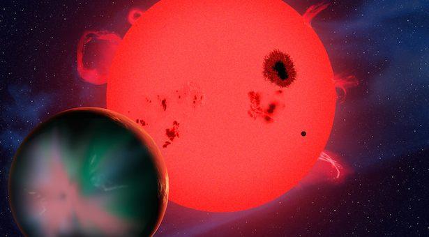 Ilustrasi planet yang mengitari katai merah di zona laik huni. Kredit: David A. Aguilar (CfA)