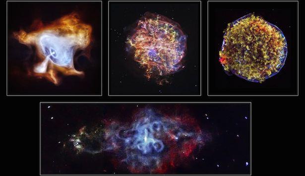 Berturut-turut dari kiri ke kanan: Nebula Kepiting, G292.0+1.8, Supernova Tycho. Bawah: 3C58. Kredit: NASA/CXC/Caltech.