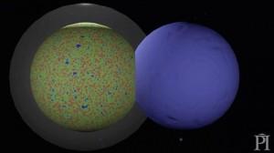 Tabrakan gelembung semesta kita dan gelembung lainnya. Kredit: Perimeter Institute