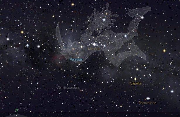 Hujan Meteor Perseid akan tampak dari Rasi Perseus. Kredit: StarWalk