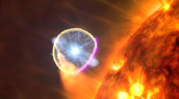 Nova V407 Cygni yang dilihat Fermi pada pasangan katai putih dan raksasa merah. Kredit: NASA's Goddard Space Flight Center/S. Wiessinger