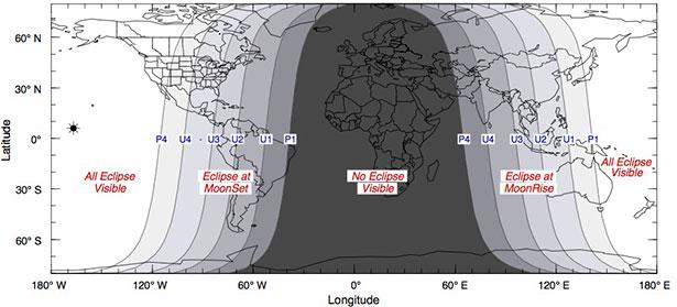Peta lokasi yang bisa menyaksikan Gerhana Bulan Total 8 Oktober 2014. Kredit: Fred Espenak/NASA