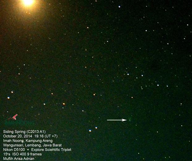 Gambar 4. Komet Siding-Spring dan planet Mars sebagai hasil observasi percobaan kedua, disajikan dalam warna nyata. Sumber: Imah Noong, 2014.