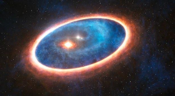 Dua cincin pembentukan planet yang ditemukan di bintang ganda. Kredit: ESO/L. Calçada