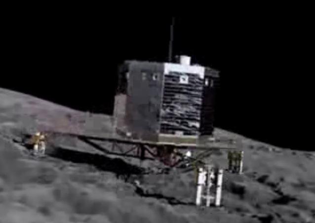 Gambar 1. Simulasi saat-saat robot pendarat Philae tepat menyentuh tanah intikomet Churyumov-Gerasimenko untuk berlabuh. Dalam kenyataannya, akibat tidak berfungsinya dua unit pembantu pendaratan membuat Philae langsung melompat (terpental) kembali ke angkasa hingga dua kali begitu menyentuh tanah intikomet. Philae akhirnya benar-benar berlabuh pada titik yang jauhnya sekitar 1.000 meter dari lokasi yang direncanakan. Sumber: ESA, 2014.