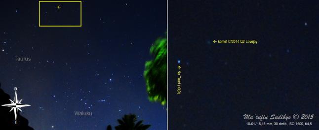 Gambar 2. Komet C/2014 Q2 Lovejoy dalam observasi hari kedua dalam kondisi langit sempurna. Kiri: kedudukan komet (tanda panah) dalam citra bidang lebar rasi bintang Taurus dan Waluku. Kanan: detil posisi komet dan bintang disekelilingnya, sebagai perbesaran dari kotak kuning dalam citra sebelah kiri. Diabadikan dengan Nikon D60 dan diolah dengan GIMP 2. Sumber: Sudibyo, 2015.