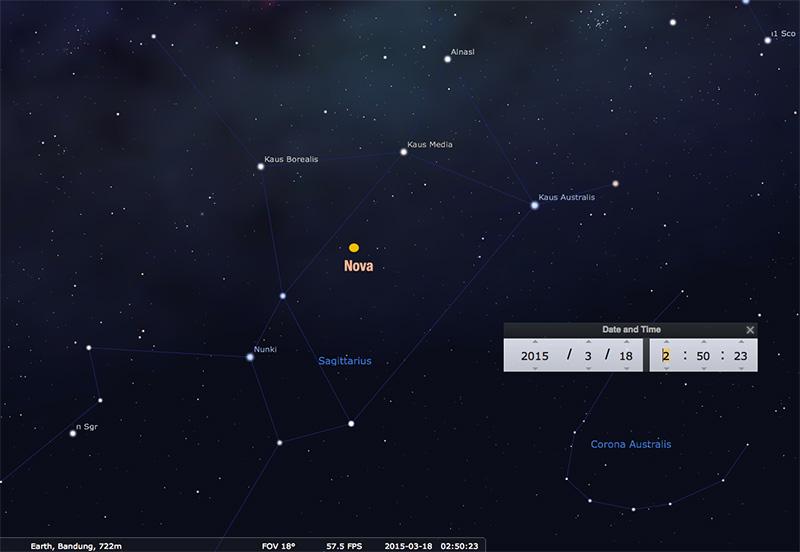 Nova Baru di Teko Teh Rasi Sagittarius | langitselatan