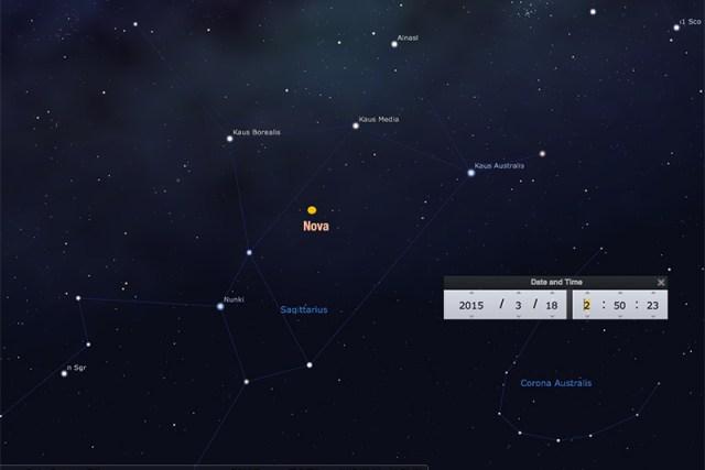 Nova Sagittarii 2015 No. 2 aka  PNV J18365700-2855420 yang ditemukan oleh John Seach di rasi Sagittarius. Kredit: Stellarium