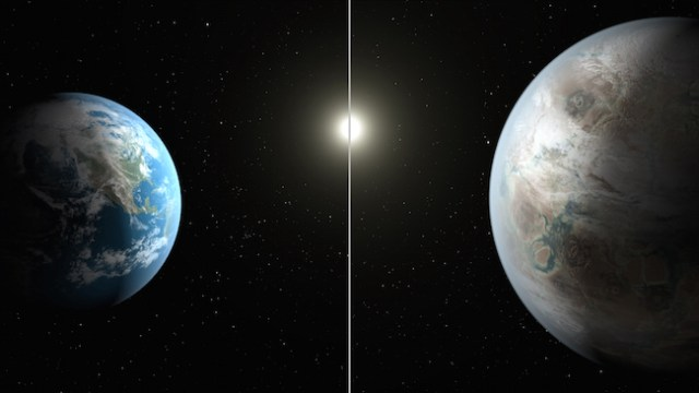 Perbandingan Bumi dan Kepler-452b yang 60% lebih besar. Kredit: NASA/JPL-Caltech/T. Pyle