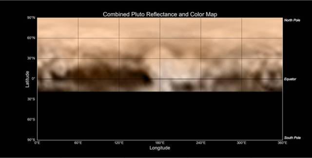 Peta Pluto yang dipotret oleh instrumen LORRI di New Horizons. Tampak fitur gelap berbentuk ikan paus dan fitur terang berbentuk hati. Kredit: NASA-JHUAPL-SWRI