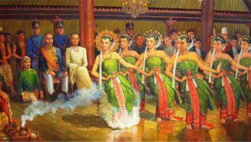 Lukisan Tarian Bedhoyo Ketawang oleh S. Pandji pad atahun 2006. Sumber: PandjiPainting