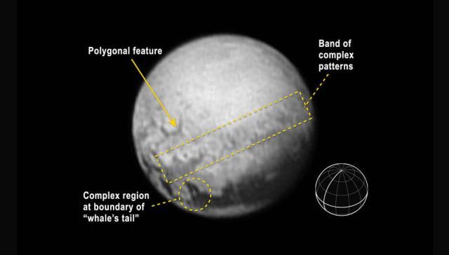 Foto Pluto pada tanggal 9 Juli yang memperlihatkan fitur geologi di Pluto. Kredit: NASA-JHUAPL-SWRI