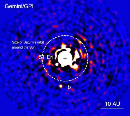 51 Eridani b yang dilihat pada panjang gelombang inframerah dekat. Kredit:  J. Rameau, University of Montreal / C. Marois, Herzberg Institute of Astrophysics.