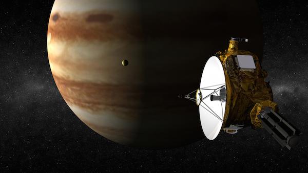 Ilustrasi pelukis mengenai perjumpaan New Horizons dengan Jupiter.