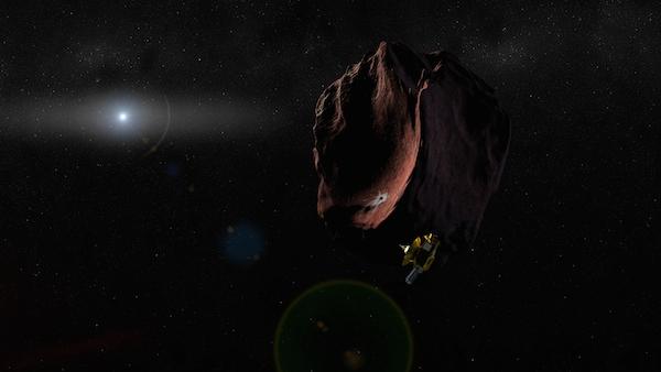 Kesan pelukis mengenai perjumpaan New Horizons dengan sebuah Objek Sabuk Kuiper.