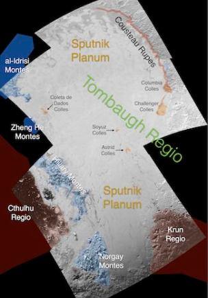 Sputnik Planum, dataran es yang diduga baru terbentuk kurang dari 100 juta tahun. Kredit: JHUAPL / SwRI
