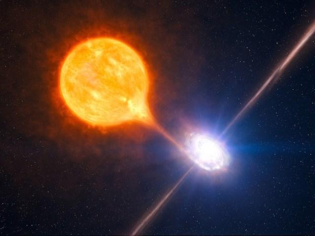 Bintang Neutron yang melepaskan semburan dasyat dan bintang pasangannya. Kredit: ESO/L. Calçada/M.Kornmesser