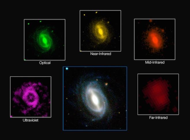 Galaksi yang tampak dalam berbagai panjang gelombang dalam survei GAMA. Kredit: ICRAR/GAMA & ESO