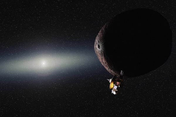 Ilustrasi pertemuan New Horizons dengan obyek di Sabuk Kuiper. Kredit: NASA/JHUAPL/SwRI/Alex Parker