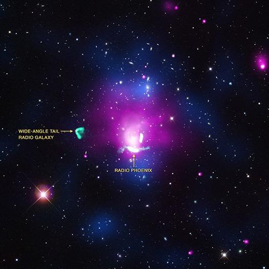 Abell 1033. Kebangkitan awan raksasa Phoenix Radio di angkasa. Kredit: X-ray: NASA/CXC/Univ of Hamburg/F. de Gasperin et al; Optical: SDSS; Radio: NRAO/VLA