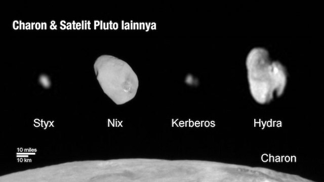 Foto keluarga satelit PLuto: Kredit: NASA/Johns Hopkins University Applied Physics Laboratory/Southwest Research Institute