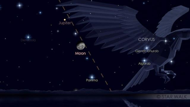 Bulan dan Jupiter. Kredit: Star Walk