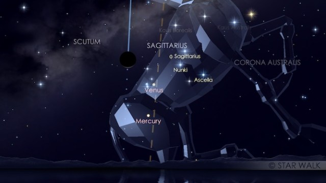 Bulan berpapasan dengan Merkurius dan Venus. Kredit: Star Walk