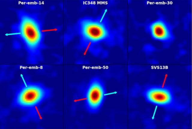 Piringan materi yang dilihat pada bintang-bintang muda di Awan molekular Perseus dengan teleskop radio VLA. kredit: Segura-Cox, et al., NRAO/AUI/NSF.