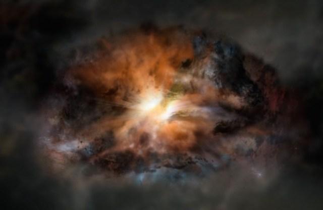 Gambar jarak-dekat Galaksi Paling Terang Sejagad. Galaksi ini seribu kali lebih terang daripada Galaksi Bimasakti, tapi kita tidak dapat memotretnya secara detil sekalipun kita menggunakan teleskop paling canggih karena jaraknya lebih dari 12 miliar tahun cahaya. Kredit: NRAO/AUI/NSF; Dana Berry / SkyWorks; ALMA (ESO/NAOJ/NRAO).