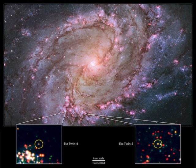 Dua kandidat saudara kembar Eta Carinae di galaksi spiral M83. Kredit: NASA, ESA, tim Hubble Heritage (STScI/AURA) & R. Khan (GSFC and ORAU)