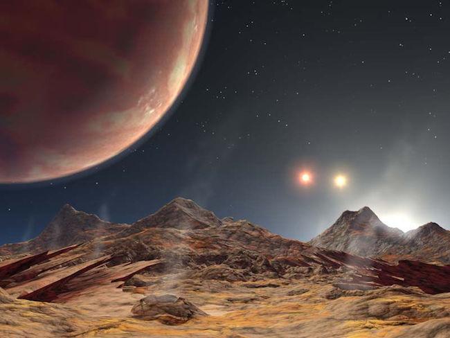 Ilustrasi planet HD 1885Ab, planet pertama yang ditemukan di sistem bintang bertiga. Kredit: NASA/JPL-Caltech