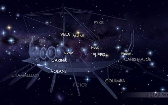 Rasi Puppis yang jadi arah datang hujan meteor Pi Puppid. Kredit: Star Walk