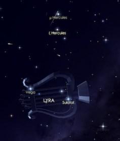 Hujan meteor Lyrid akan tampak datang dari arah rasi Lyra. Kredit: Star Walk