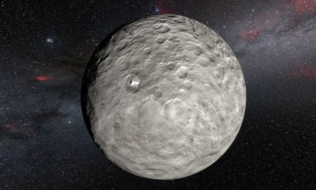 Ceres dengan bintik terangnya. Kredit: ESO/L.Calçada/NASA/JPL-Caltech/UCLA/MPS/DLR/IDA/Steve Albers/N. Risinger (skysurvey.org)