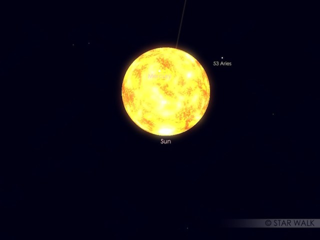 Transit Merkurius. Kredit: Star Walk