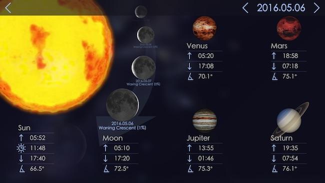 Waktu terbit dan terbenam Matahari, Bulan dan beberapa planet. Kredit: Star Walk