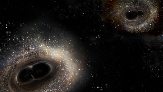 Perbandingan pasangan lubang hitam GW150914 yang memiliki massa lebih besar (kiri) dan pasangan lubang hitam GW151226 yang massanya jauh lebih kecil. Kredit: LIGO/A. Simonnet.