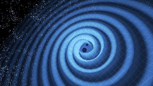 Ilustrasi pasangan lubang hitam yang bergabung dan menimbulkan riak di alam semesta. Kredit: LIGO/T. Pyle