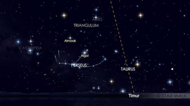 Hujan meteor Perseid tanggal 13 Agustus 2016 jam 02:00 WIB. Kredit: Star Walk